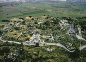 Vista aérea de las ruinas de Troya, descubierta por Heinrich Schlieman