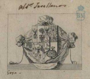 Exlibris realizado por Goya para Jovellanos. Biblioteca Nacional.